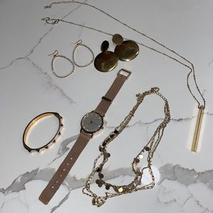 Gold Toned Mixed Jewelry Accessory Lot